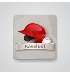 Baseball helmet and baseball icon vector image
