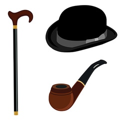 Bowler hat smoking pipe and walking stick vector