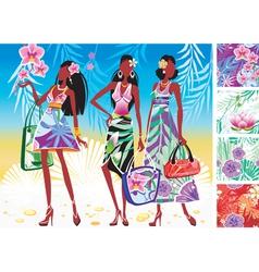 Women in summer dresses vector