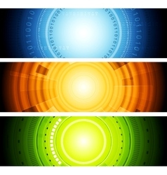 Bright abstract tech banners vector image