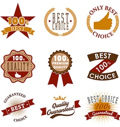 Quality emblems and labels best choice vector
