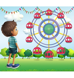 A boy watching the ferris wheels vector image vector image
