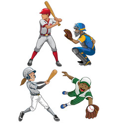 baseball players set vector image vector image