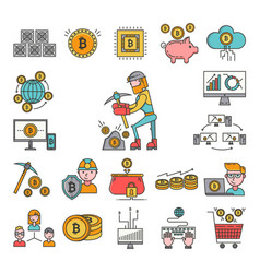 Bitcoin mining money icons virtual crypto currence vector