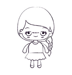 Blurred thin silhouette of kawaii cute little girl vector