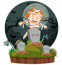 Boy dresses in mummy for halloween vector