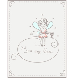 card with fairy and cat vector image