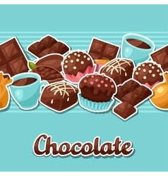 Chocolate seamless pattern with various tasty vector image vector image