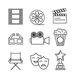 cinema entertainment flat icons vector image