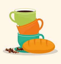 Coffee cup bread dessert bean vector