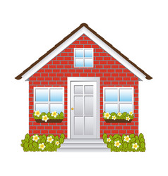 Comfortable facade house with brick wall vector