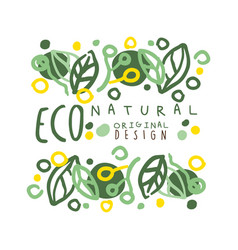 eco natural label logo graphic template original vector image vector image