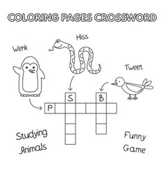 Funny animals coloring book crossword vector