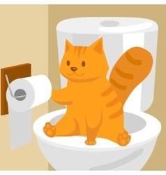 Ginger cat on toilet cartoon vector