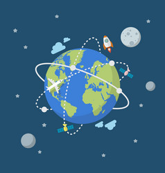 Global network connection in flat style vector