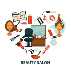Hair beauty salon hairdresser parlor heart vector