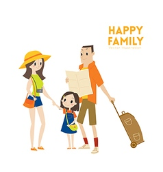 Happy modern urban tourist family cartoon vector