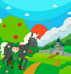 Hunter and horse on the field vector image