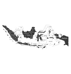 Indonesia map labelled black vector