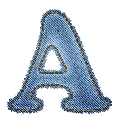 Jeans alphabet denim letter a vector