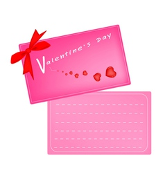 Lovely Pink Valentine Card with Red Ribbon vector image vector image