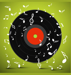 lp vinyl record with notes on green background vector image vector image