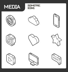 media outline isometric icons set vector image