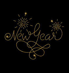 new year glitter golden hand lettering vector image vector image