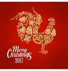 New year rooster symbol with christmas gingerbread vector