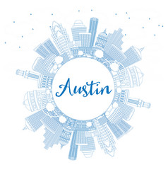 Outline austin skyline with blue buildings and vector