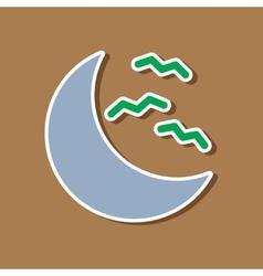 Paper sticker on stylish background halloween moon vector