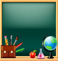 School tools on green blackboard background vector image