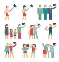 Selfie figures of people vector image vector image