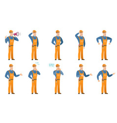 set of builder characters vector image vector image
