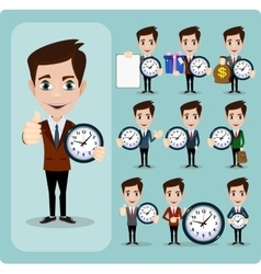 Set of businessman and clock eps10 format vector image vector image