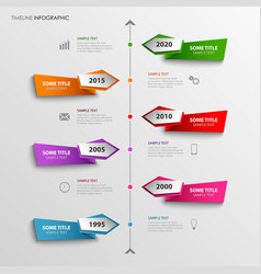 Time line info graphic with abstract colored vector