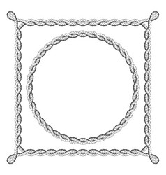 Twisted rope frames - round and square borders vector