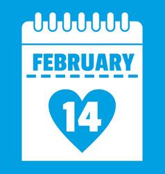 Valentines day calendar icon white vector