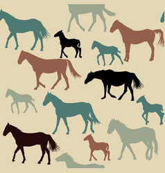 vintage background with horses silhouettes vector image vector image