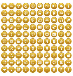 100 website icons set gold vector