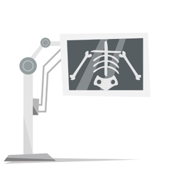 X-ray machine with image of skeleton vector