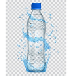 Plastic bottle with mineral water vector