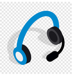 Headphones with microphone isometric icon vector