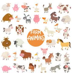 cartoon animal characters large set vector image