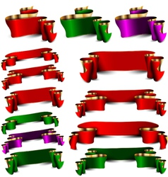 Set of empty royal color ribbons vector image