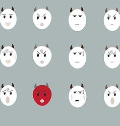 Cow emotion face set1 01 vector
