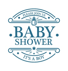 Baby shower boy emblem vector