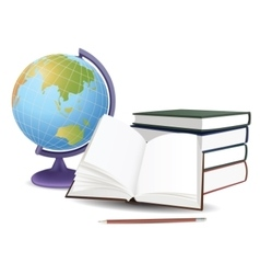 School globe books and pencil vector