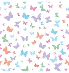 Butterflies pink lilac blue green isolated vector