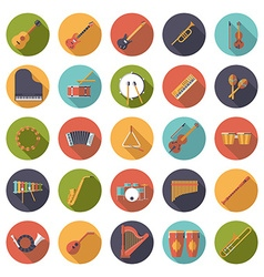 Musical instruments circular flat design icons vector